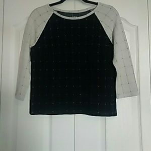 Ann Taylor Loft  Black & White 3/4 sleeve sweater